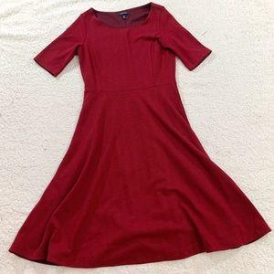 Lands end red ponte fit flare half sleeve dress
